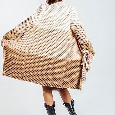 Одежда ручной работы. Ярмарка Мастеров - ручная работа Кардиган соты. Тёплое пальто осеннее. Handmade.