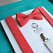 Аксессуары handmade. Livemaster - original item Red tie polka dot red suspenders / Set the Adrenaline. Handmade.