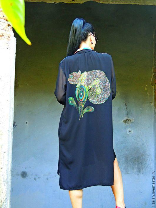 Платья ручной работы. Ярмарка Мастеров - ручная работа. Купить Платье-рубашка с декором  в технике точечной росписи (№116). Handmade.