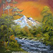 Картины и панно ручной работы. Ярмарка Мастеров - ручная работа Картина «Закат на горной реке». Handmade.