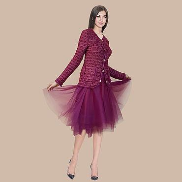 """Одежда ручной работы. Ярмарка Мастеров - ручная работа Жакет дизайнерский в стиле """"шанель""""  цикламенового оттенка. Handmade."""