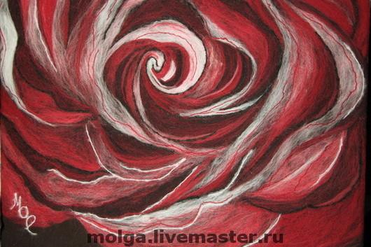 Картины цветов ручной работы. Ярмарка Мастеров - ручная работа. Купить Картина из шерсти Вечерняя роза. Handmade. Декор для интерьера