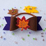 Работы для детей, ручной работы. Ярмарка Мастеров - ручная работа Резинка для волос Осенний бантик. Handmade.