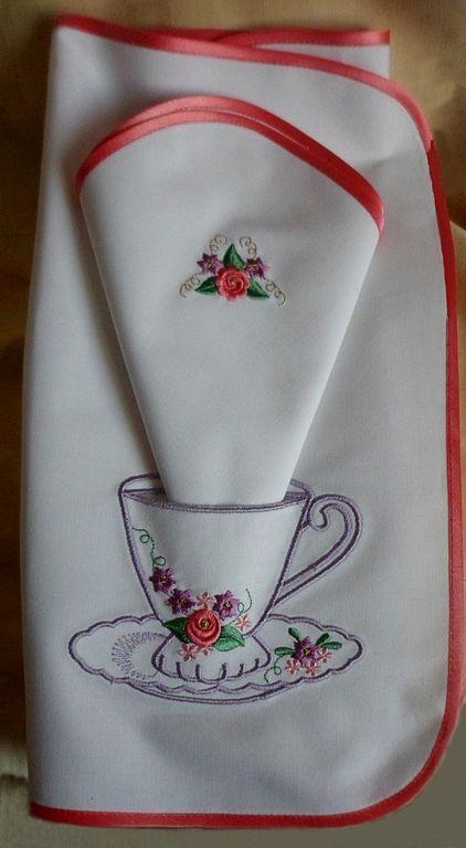 """Кухня ручной работы. Ярмарка Мастеров - ручная работа. Купить Салфетка """"Веселое чаепитие"""". Handmade. Вышивка, вышитая салфетка, лён"""