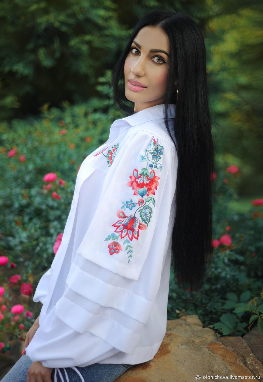 Elegant blouse with embroidery 'Norwegian motifs' vyshyvanka, Blouses, Vinnitsa,  Фото №1