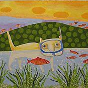 Картины и панно ручной работы. Ярмарка Мастеров - ручная работа подводник. Handmade.