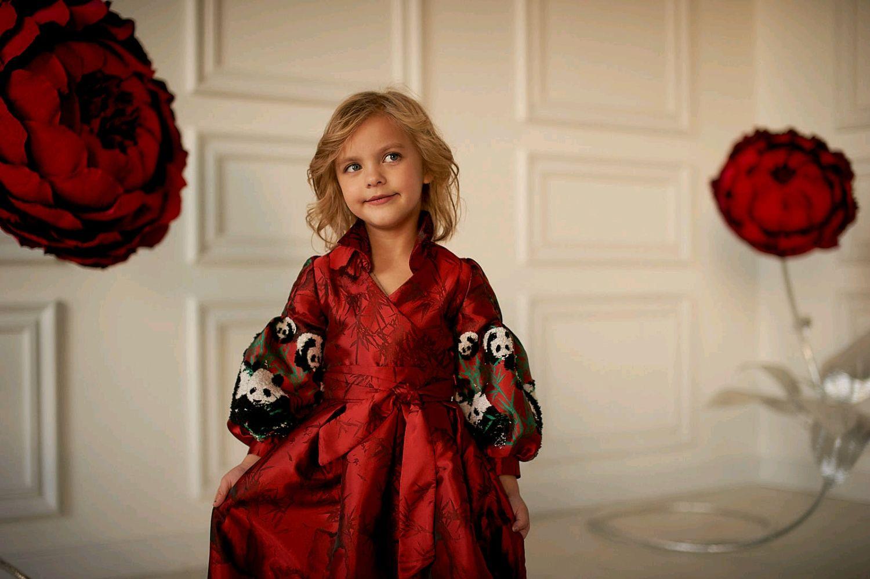 """Платье для девочки  """"Пандочки на красном"""""""