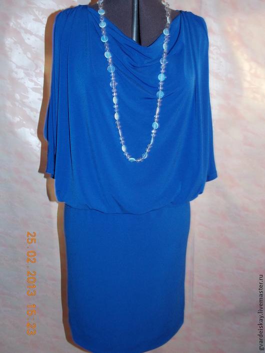 Платья ручной работы. Ярмарка Мастеров - ручная работа. Купить Платье трикотажное. Handmade. Тёмно-синий, платье, большой размер