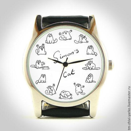 Часы наручные `Шалун кот Саймона`. Необычные наручные часы ручной работы.
