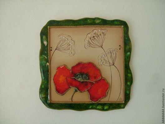 Картины цветов ручной работы. Ярмарка Мастеров - ручная работа. Купить панно Мак и травы (1) керамика. Handmade. Изразец