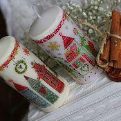 """Подарки к праздникам ручной работы. Ярмарка Мастеров - ручная работа Новогодняя свеча """"Сказочные домики"""". Handmade."""