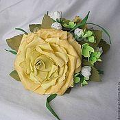 Украшения ручной работы. Ярмарка Мастеров - ручная работа Заколка-краб для волос Медовая роза. Handmade.