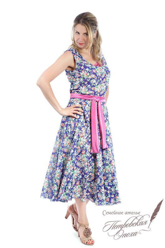 """Платья ручной работы. Ярмарка Мастеров - ручная работа. Купить Топ и юбка ,,Розы на синем"""", розовый пояс. Handmade."""