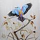Еще один вариант синей птицыбатик палантин шелковый, батик холодный роспись, роспись по шелку, батик роспись, батик рисунок, батик платок, батик палантин, батик парео шелковый, шелк батик роспись, рас
