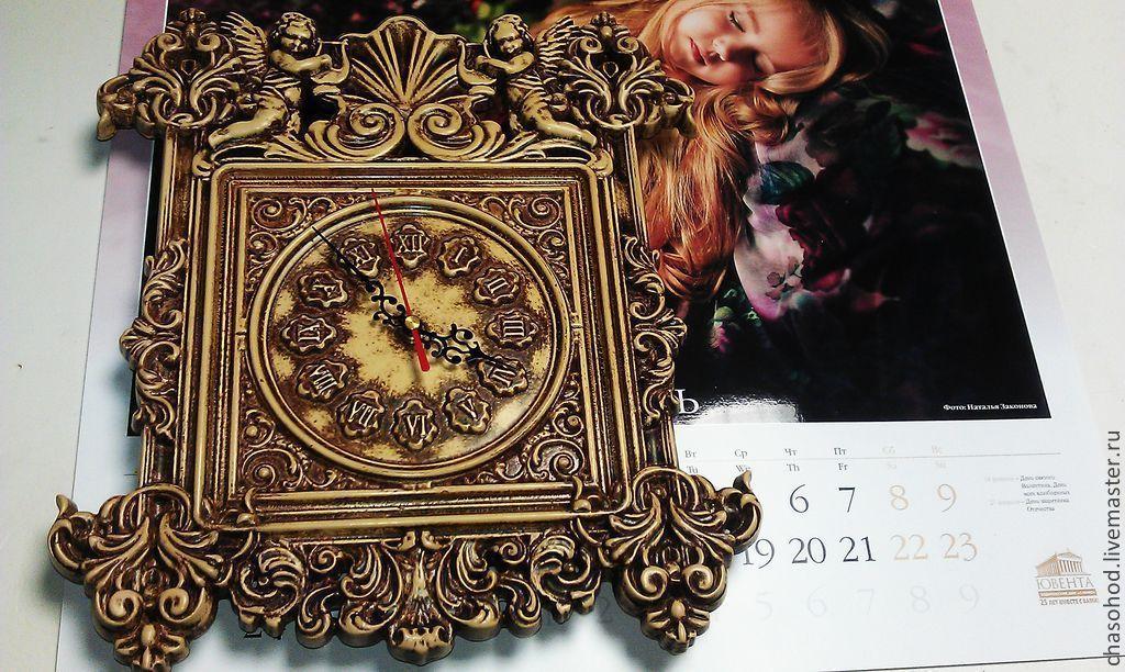 """Часы для дома ручной работы. Ярмарка Мастеров - ручная работа. Купить Часы """"Ангелы времени."""". Handmade. Бежевый"""