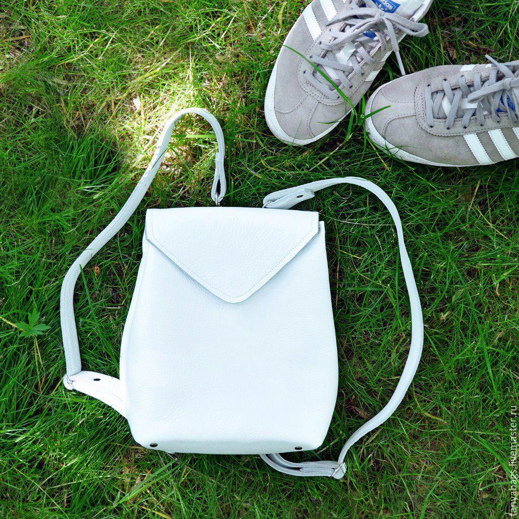 8ba079bc667c Белый кожаный рюкзак ручной работы маленький. Семейная мастерская 'Tanya  Bags