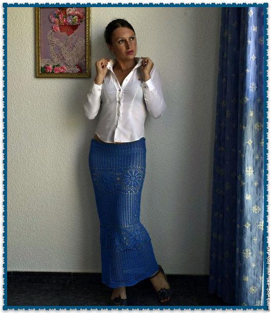 """Юбки ручной работы. Ярмарка Мастеров - ручная работа. Купить Вязаная юбка,,Pure elegance"""". Handmade. Синий, Вязание крючком"""