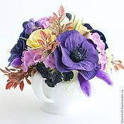 Цветы и флористика ручной работы. Ярмарка Мастеров - ручная работа Букет в молочнике с розами и анемонами. Handmade.