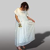 """Одежда ручной работы. Ярмарка Мастеров - ручная работа СКИДКА 50%! платье в пол из льна белое """"Золотые пески Египта"""" белый. Handmade."""