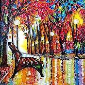"""Картины и панно ручной работы. Ярмарка Мастеров - ручная работа """"Скамейка"""" Роспись стекла витражными красками. Handmade."""