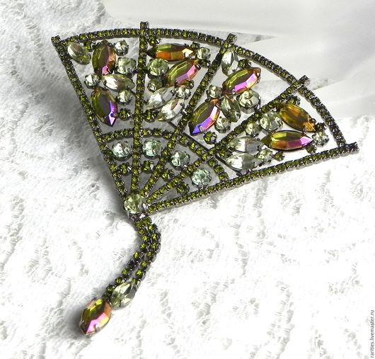 Винтажные украшения. Ярмарка Мастеров - ручная работа. Купить Брошь Роскошный веер,Италия,стразы,кристаллы,крупная брошка,винтажная. Handmade.
