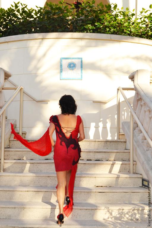 """Платья ручной работы. Ярмарка Мастеров - ручная работа. Купить Платье ручной работы """"Tango solo"""". Handmade. Ярко-красный"""