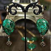 Украшения handmade. Livemaster - original item Earrings made of malachite with pyrite. Emerald Jurassic period. Handmade.