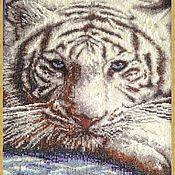 Картины и панно handmade. Livemaster - original item Tapestry beaded WHITE TIGER. Handmade.