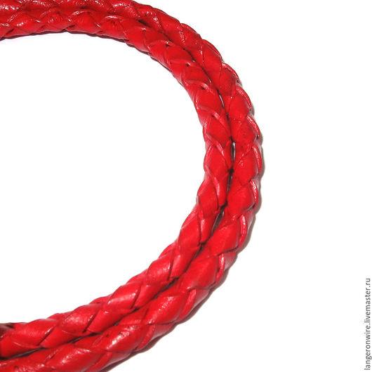 Для украшений ручной работы. Ярмарка Мастеров - ручная работа. Купить Шнур кожаный плетеный 5 мм. Цвет - красный глянцевый. Handmade.