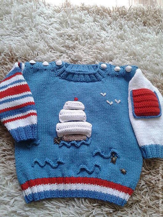 Одежда для мальчиков, ручной работы. Ярмарка Мастеров - ручная работа. Купить джемпер пуловер На волнах под парусами вязаный детский для мальчика. Handmade.