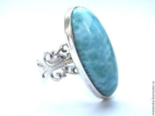 """Кольца ручной работы. Ярмарка Мастеров - ручная работа. Купить Кольцо """"Нежность"""" - ларимар, серебро. Handmade. Голубой, ларимар натуральный"""