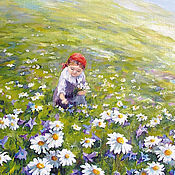 Открытки handmade. Livemaster - original item Card In a meadow of Daisies and a girl. Handmade.