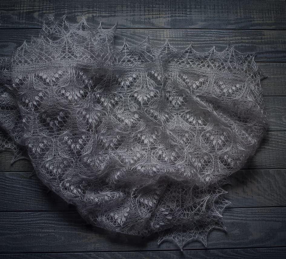 """Серебристо-серая шаль """"Бабочки"""" из мохера с шёлком. Эстонское кружево, Шали, Ногинск,  Фото №1"""