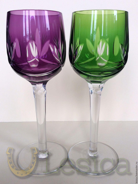 Stemware colored crystal, Vintage glasses, Ramenskoye,  Фото №1