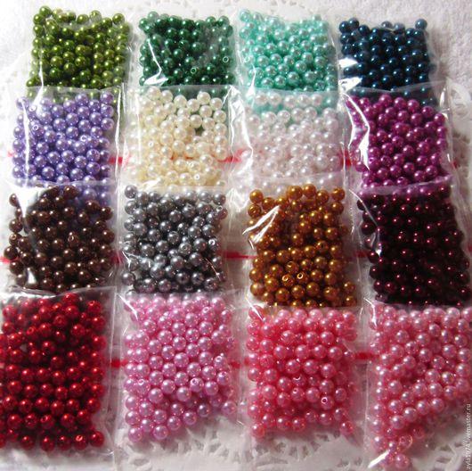 """Для украшений ручной работы. Ярмарка Мастеров - ручная работа. Купить Бусина пластиковая """"жемчуг"""" 6 мм,16 цветов. Handmade."""