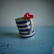 Посуда ручной работы. Ярмарка Мастеров - ручная работа Мятая чашка. Керамика. Handmade.