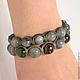 Set of bracelets Shambala suede with labradorite, jade and Bronzit