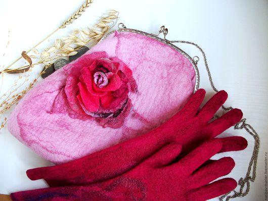 """Женские сумки ручной работы. Ярмарка Мастеров - ручная работа. Купить Войлочная сумка """"Цветущая роза"""". Handmade. Бледно-розовый"""