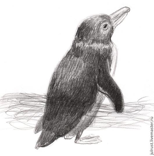 Животные ручной работы. Ярмарка Мастеров - ручная работа. Купить Картина Пингвинчик, птица серый черный белый графика. Handmade.