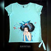 """Одежда ручной работы. Ярмарка Мастеров - ручная работа Футболка """"Girl & Birds"""" mint color. Handmade."""