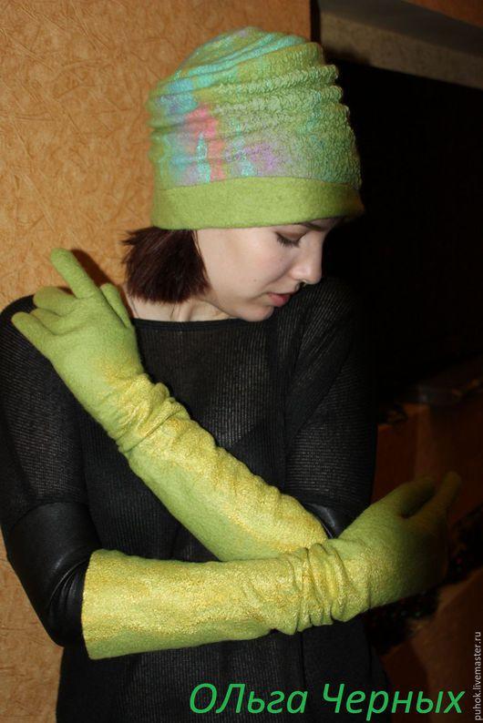 Шляпы ручной работы. Ярмарка Мастеров - ручная работа. Купить Шляпка валяная шляпа валяная шерстяная зеленая салатовая. Handmade.