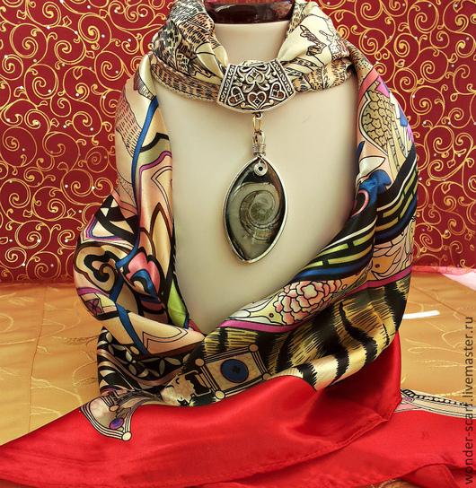 """Шали, палантины ручной работы. Ярмарка Мастеров - ручная работа. Купить шейный платок с подвеской """"Коллаж"""". Handmade. Орнамент"""