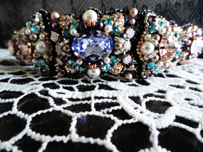 Bracelet with rhinestones and Swarovski pearls Diamond Flower, Bead bracelet, Moscow,  Фото №1