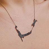 Украшения ручной работы. Ярмарка Мастеров - ручная работа Ожерелье на цепочке из серебра окисленного 925 пробы - деликатное. Handmade.