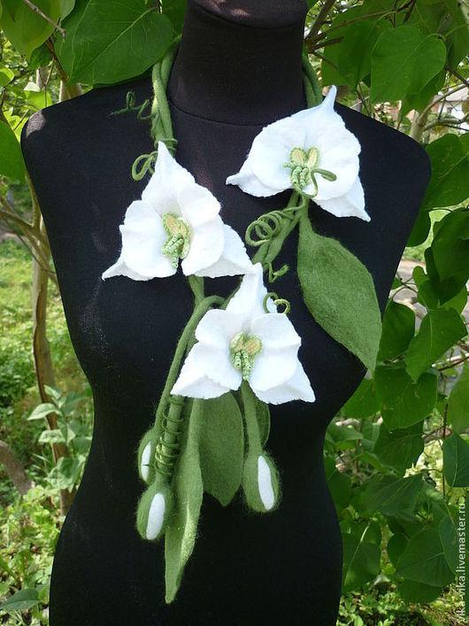 Колье, бусы ручной работы. Ярмарка Мастеров - ручная работа. Купить Белая орхидея. Handmade. Белый, Аксессуары handmade, бисер