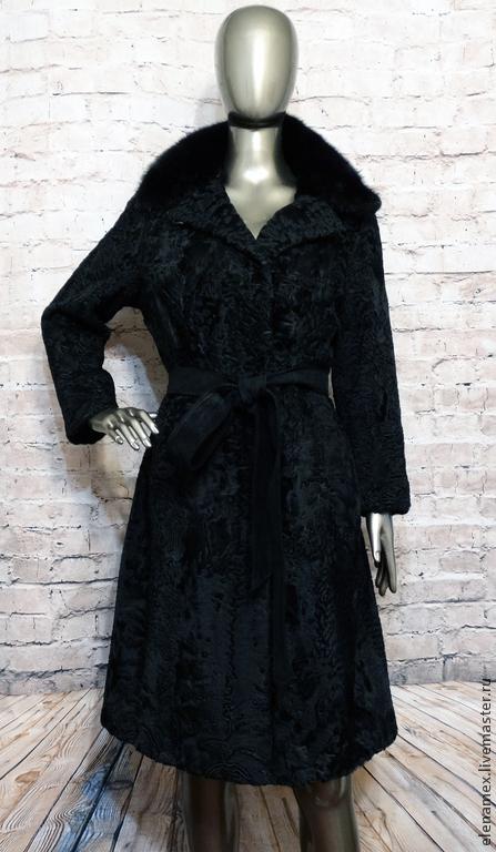 Верхняя одежда ручной работы. Ярмарка Мастеров - ручная работа. Купить Пальто из каракуля swakara. Handmade. Черный, купить пальто