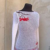Одежда ручной работы. Ярмарка Мастеров - ручная работа свитерок вязаный белоснежный. Handmade.