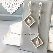 Украшения handmade. Livemaster - original item Asymmetrical earrings with pearl silver long earrings, stylish. Handmade.