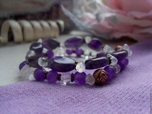 """Браслеты ручной работы. Ярмарка Мастеров - ручная работа. Купить Комплект браслетов """"Диана"""". Handmade. Браслет, фиолетовый, современный для девочки"""