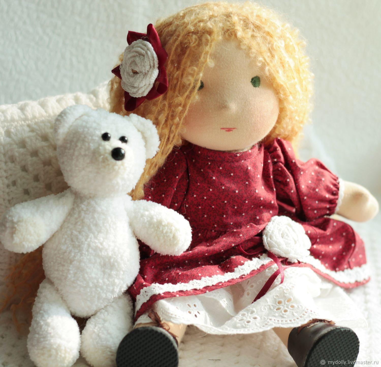 Вальдорфская кукла Танечка  (34 см) с мишкой, Игрушки, Тула, Фото №1